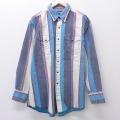 XL★古着 長袖 ウエスタン シャツ 90年代 90s ラングラー Wrangler 大きいサイズ 水色 ストライプ 20aug06 中古 メンズ トップス