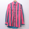 M★古着 長袖 ウエスタン シャツ 90年代 90s ラングラー Wrangler コットン USA製 ピンク ストライプ 20aug06 中古 メンズ トップス