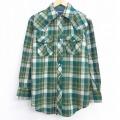 L★古着 長袖 ウエスタン シャツ 80年代 80s 緑 グリーン チェック 20sep04 中古 メンズ トップス