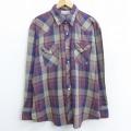 XL★古着 長袖 ウエスタン シャツ 大きいサイズ エンジ他 チェック 21feb25 中古 メンズ トップス