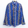 XL★古着 ラングラー Wrangler 長袖 ウエスタン シャツ メンズ 80年代 80s ネイティブ柄 ラグ柄 大きいサイズ 青 ブルー 21jun11 中古 トップス