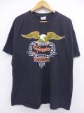 XL★古着 ハーレーダビッドソン Harley Davidson Tシャツ バイク ワシ 黒 ブラック 19aug21 中古 メンズ