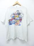 XL★古着 ビンテージ Tシャツ 80年代 ディズニー DISNEY ミッキー MICKEY MOUSE 車 染込プリント 白 ホワイト 19aug30 中古 メンズ