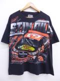 XL★古着 Tシャツ レーシングカー NASCAR シボレー オースティンディロン 全面プリント 大きいサイズ 黒 ブラック 19sep04 中古 メンズ