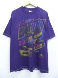 XL★古着 半袖 Tシャツ レーシングカー NASCAR CAT シボレー ワードバートン コットン 紫 パープル 19sep09 中古 メンズ