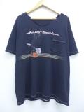 XL★古着 半袖 ビンテージ ハーレーダビッドソン Harley Davidson Tシャツ 90年代 ワシ バイク ピッツバーグ 胸ポケット付き 黒 ブラック 19sep09 中古 メンズ