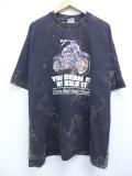 XL★古着 半袖 Tシャツ 90年代 バイク B&D コットン 大きいサイズ クルーネック USA製 黒 ブラック タイダイ 19sep09 中古 メンズ