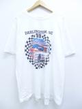 XL★古着 半袖 Tシャツ レーシングカー ダーリントン コットン 大きいサイズ クルーネック 白 ホワイト 19sep09 中古 メンズ