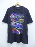 XL★古着 半袖 Tシャツ レーシングカー アトランタ フラッカーバレル コットン クルーネック 黒 ブラック 19sep09 中古 メンズ
