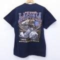 L★古着 半袖 Tシャツ モーターサイクルラリー コットン クルーネック 黒 ブラック 20may28 中古 メンズ