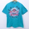 L★古着 半袖 ビンテージ Tシャツ 90年代 90s NASCAR レーシングカー コットン クルーネック USA製 青緑 20may28 中古 メンズ