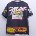 XL★古着 半袖 ビンテージ Tシャツ 90年代 90s ミラー レーシング コットン クルーネック 黒 ブラック 【spe】 20jun15 中古 メンズ