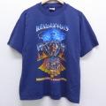 XL★古着 半袖 ビンテージ ハーレーダビッドソン Harley Davidson Tシャツ 90年代 90s 男女 バイク クルーネック USA製 紺 ネイビー 20jun30 中古 メンズ