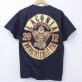 L★古着 半袖 Tシャツ スカル バイク コットン クルーネック 黒 ブラック 20jul02 中古 メンズ