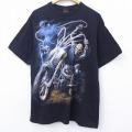 XL★古着 半袖 ビンテージ Tシャツ 00年代 00s スカル バイク コットン クルーネック 黒 ブラック 20jul02 中古 メンズ