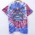 L★古着 半袖 Tシャツ 00年代 00s 車 コットン クルーネック 赤他 レッド タイダイ 20jul02 中古 メンズ