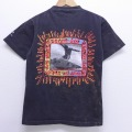 S★古着 半袖 ビンテージ サーフ Tシャツ 90年代 90s ガッチャ サーフィン クルーネック 黒 ブラック ブリーチ加工 20jul02 中古 メンズ