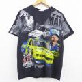 L★古着 半袖 Tシャツ ラングラー Wrangler NASCAR シボレー デイルアーンハート 全面プリント コットン クルーネック 黒 ブラック 20jul13 中古 メンズ