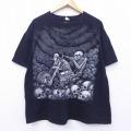 XL★古着 半袖 Tシャツ スケルトン バイク 大きいサイズ コットン クルーネック 黒 ブラック 20aug05 中古 メンズ