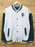 XL★古着フルスナップスウェットミッキーフロッキープリントグレー霜降×緑/14dec09【n】