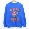M★古着 長袖 スウェット 90年代 90s MLB シカゴカブス ラグラン クルーネック USA製 青 ブルー メジャーリーグ ベースボール 野球 20oct16 中古 メンズ スエット トレーナー トップス
