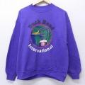 L★古着 長袖 スウェット 90年代 90s ダックヘッド クルーネック USA製 紫 パープル 20nov16 中古 メンズ スエット トレーナー トップス