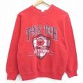 S★古着 長袖 スウェット 80年代 80s テキサス カレッジ レッドレイダーズ ラグラン クルーネック USA製 赤 レッド 21mar01 中古 メンズ スエット トレーナー トップス