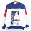 M★古着 長袖 スウェット 80年代 80s ヨット クルーネック USA製 マルチカラー 白他 ホワイト 21mar01 中古 メンズ スエット トレーナー トップス