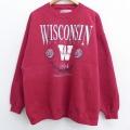 XL★古着 長袖 スウェット 90年代 90s ウィスコンシン ローズボール 大きいサイズ クルーネック USA製 赤 レッド 21mar31 中古 メンズ スエット トレーナー トップス