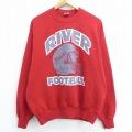 L★古着 長袖 スウェット 90年代 90s リーベル フットボール 大きいサイズ USA製 赤 レッド 21apr13 中古 メンズ スエット トレーナー トップス