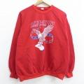 L★古着 長袖 スウェット 80年代 80s ミリタリー 鳥 OPERATION ラグラン クルーネック USA製 赤 レッド 21apr14 中古 メンズ スエット トレーナー トップス