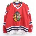 XL★古着 スターター STARTER 長袖 スウェット メンズ 90年代 90s NHL シカゴブラックホークス ジェレミーレーニック 27 大きいサイズ Vネック 赤 レッド アイスホッケー 21jun07 中古 スエット トレーナー トップス
