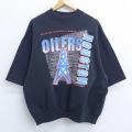 XL★古着 半袖 スウェット 80年代 80s ヘインズ Hanes NFL ヒューストンオイラーズ クルーネック 黒 ブラック アメフト スーパーボウル 20may29 中古 メンズ スエット トレーナー トップス