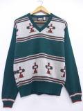 M★古着 セーター 70年代 キャンパス 鳥 USA製 緑 グリーン 19jan15 中古 メンズ ニット トップス WS