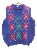 L★古着 ニット ベスト 90年代 アーガイル シェットランドウール アイルランド製 紺 ネイビー 19jan18 中古 メンズ トップス