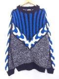 L★古着 セーター 3Dニット 手織り 黒他 ブラック 【spe】 19jan18 中古 メンズ ニット トップス