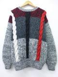L★古着 セーター 90年代 手織り グレー他 19jan29 中古 メンズ ニット トップス WS
