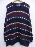XL★古着 セーター 90年代 ジャンセン コットン 大きいサイズ USA製 エンジ他 19feb04 中古 メンズ ニット トップス