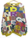 XL★古着 セーター アルファベット メリノウール 大きいサイズ 茶系他 ブラウン 19feb14 中古 メンズ ニット トップス
