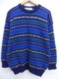 L★古着 フェアアイル セーター 手織り ウール アイルランド製 紺 ネイビー 【spe】 19feb14 中古 メンズ ニット トップス WS