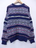 L★古着 セーター 90年代 ジャンセン コットン USA製 紺 ネイビー ボーダー 19feb22 中古 メンズ ニット トップス