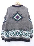 XL★古着 セーター ネイティブ柄 手織り ウール グレー 19feb22 中古 メンズ ニット トップス WS