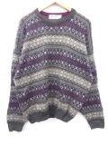 L★古着 セーター 90年代 ニューエラ フェアアイル USA製 緑 グリーン 19mar06 中古 メンズ ニット トップス