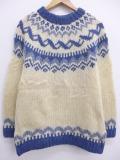 M★古着 長袖 ノルディック セーター ロパペイサ クルーネック ウール 手編み アイスランド製 生成り 19sep18 中古 メンズ ニット トップス