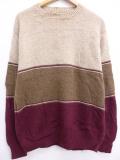 M★古着 長袖 セーター 80年代 ジャンセン マルチカラー クルーネック ウール USA製 ベージュ他 カーキ 19sep18 中古 メンズ ニット トップス