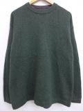 XL★古着 長袖 ブランド セーター ウールリッチ WOOLRICH クルーネック ウール 無地 緑 グリーン 19sep18 中古 メンズ ニット トップス
