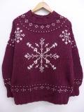 L★古着 長袖 セーター 90年代 雪柄 モックネック ウール 手編み USA製 エンジ 19sep18 中古 メンズ ニット トップス
