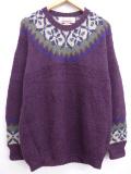 L★古着 長袖 ノルディック セーター 雪柄 クルーネック ウール 手編み 紫系 パープル 19sep18 中古 メンズ ニット トップス
