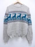 L★古着 長袖 ノルディック セーター 80年代 シカ グレー 霜降り 19sep12 中古 メンズ ニット トップス
