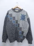 M★古着 長袖 セーター 雪柄 ウール アイスランド製 グレー 霜降り 【spe】 19sep12 中古 メンズ ニット トップス